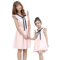 Summer Cotton Family Clothes Mother Daughter Matching Dresses Mom and Daughter Bow tie Patchwork Fly Sleeve Dress Family Look