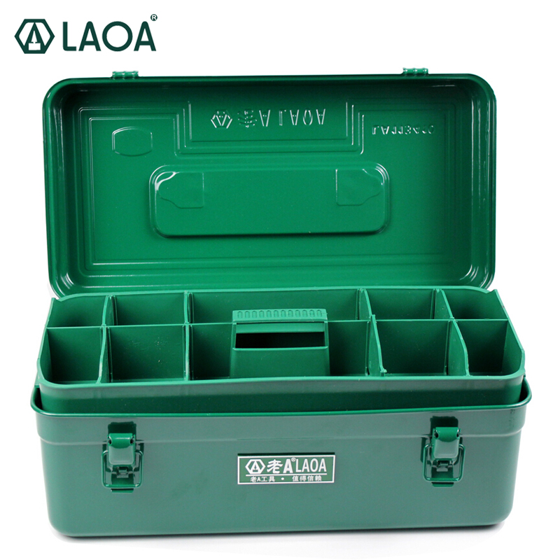 LAOA Green Color Sheet Iron Suitcase Two Layers Multi-purpose Storage Box Hardware Kit Parts Box Tool Case