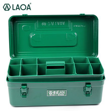 LAOA Green Color Sheet Iron Suitcase Two Layers Multi-purpose Storage Box Hardware Kit Parts Box Tool Case(China)