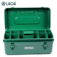 LAOA Green Color Sheet Iron Suitcase Two Layers Multi purpose Storage Box Hardware Kit Parts Box Tool Case