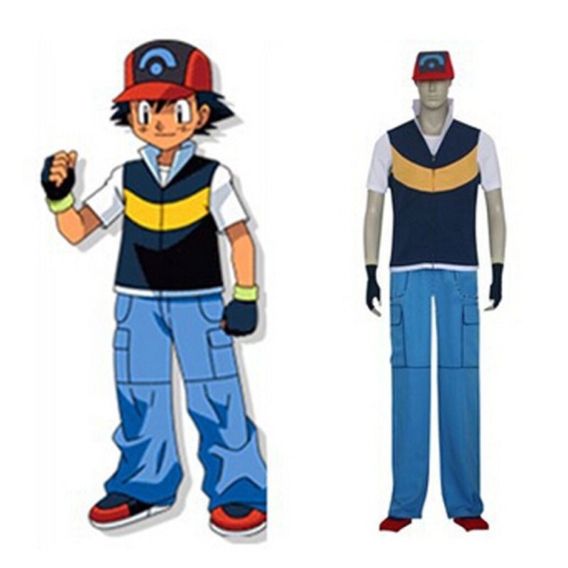 Anime Pokemon Ash Ketchum Cosplay Full Set Halloween Costume (Hat+Coat+Shirt+Pants+Gloves) Custom Size Free Shipping original stereo v4 1 bluetooth headset sport wireless bluetooth headphone earphone earbuds with mic for xiaomi samsung iphone