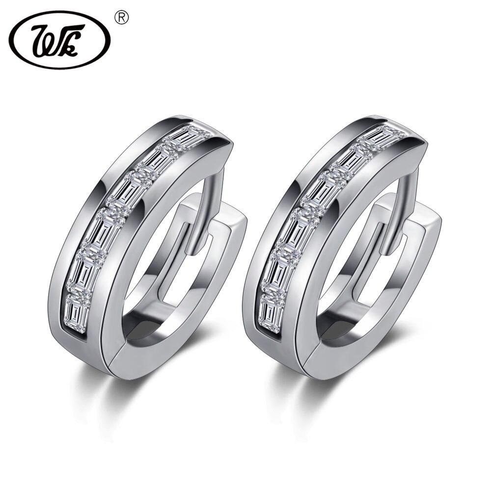 WK Anti Allergy 925 Sterling Silver Simple Small Round Ear Clip On Earrings Womens Earcuff Earring Fine Jewelry Brinco 4W ED006
