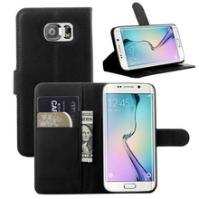 hot deal buy luxury litchi texture leather phone case for samsung galaxy s6 edge g9250 flip cover case wallet stand style with card slot