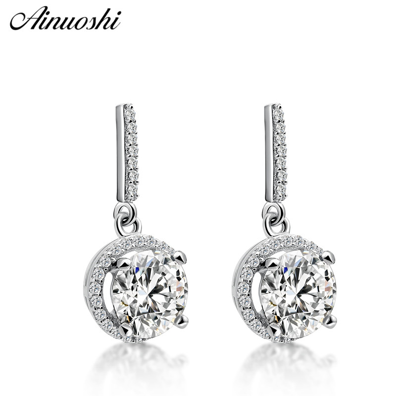 AINUOSHI Luxury Round Cut Drop Halo Earrings Lover 4 Prongs 925 Sterling Silver Women Engagement Party Drop Earrings Jewelry