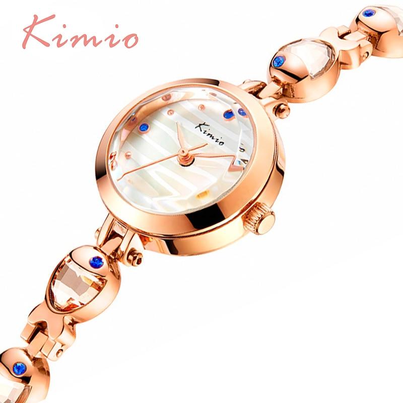 KIMIO Water Fish Gem Crystal Rose Gouden Armband Horloge Dames Luxe - Dameshorloges - Foto 5