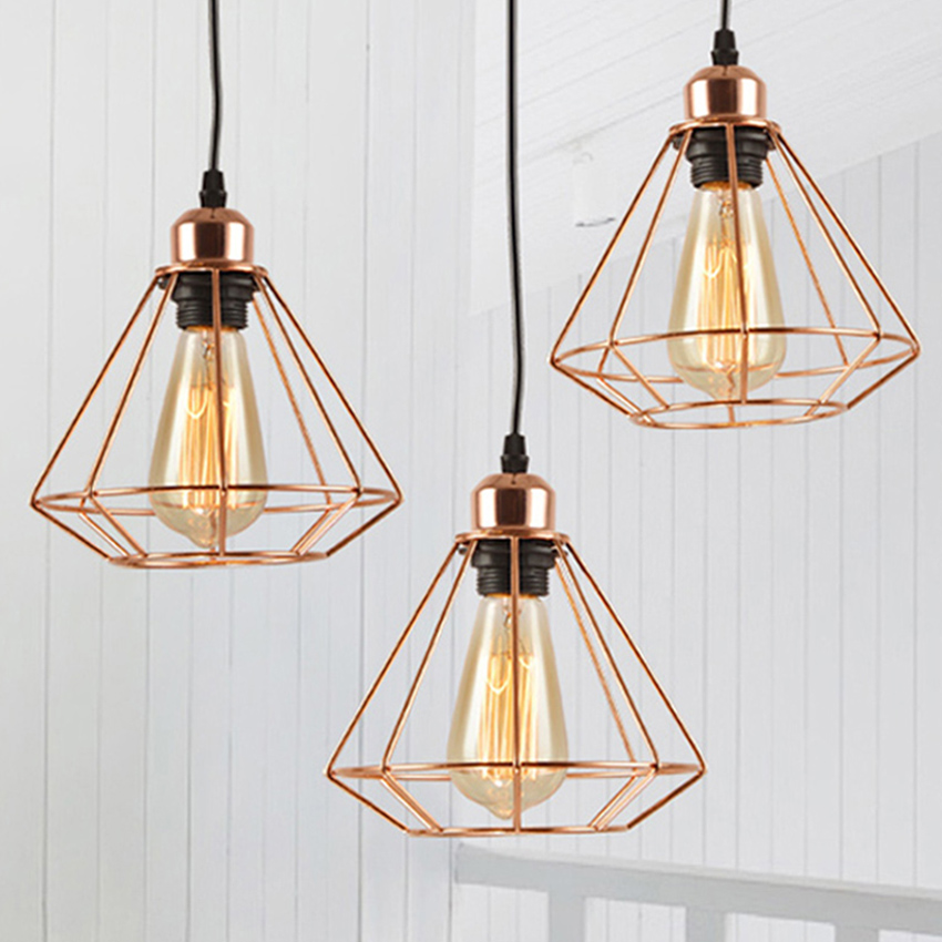 Modern Plated Rose Gold Suspension Lights Diamond Birdcage