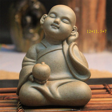 Porcelain Figurine Crafts Glazed Ceramic Pottery Buddha Statue Tea-favour pet ceramic crafts ornament HOME decor figures