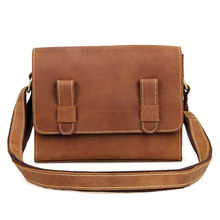 Crazy Horse Leather Messenger Bag Vintage Flap Bag For Girls Classic Shoulder Bag C005B недорого