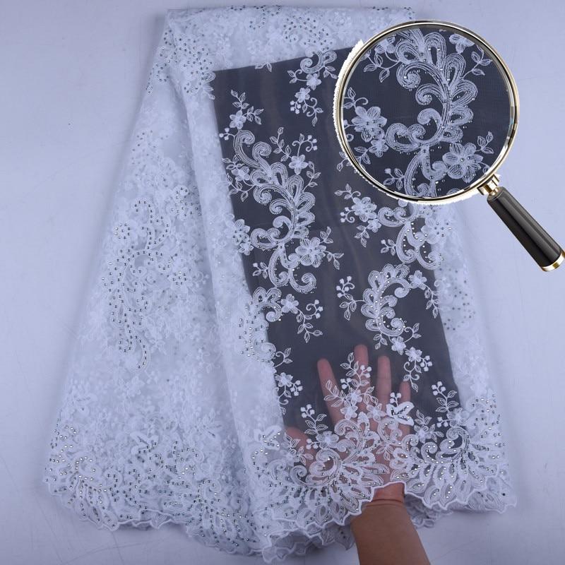 2019 High Quality African Nigerian Lace Fabrics With Rhinestones Fashion Embroidery Design Milk Silk Lace Fabric