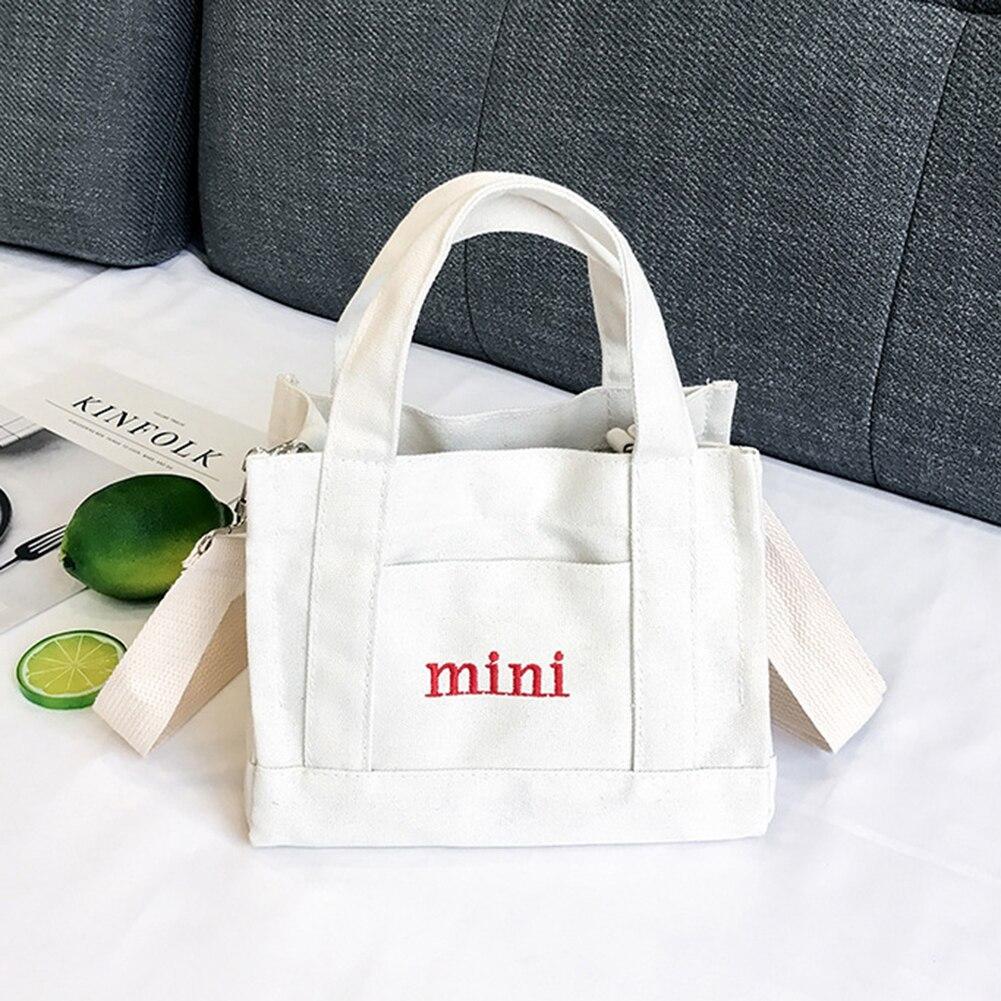 Simple Women English Letter Mini Canvas Handbag Crossbody Messenger Shoulder Small Bag Material Canvas