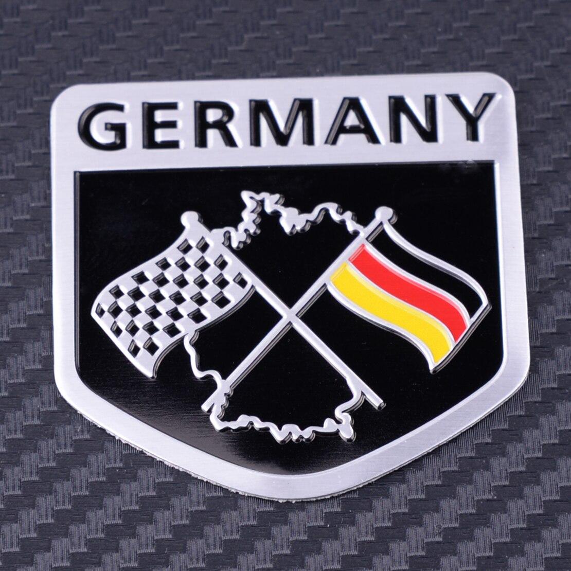 CITALL Aluminum German Car Racing Flag Emblem Grille Badge