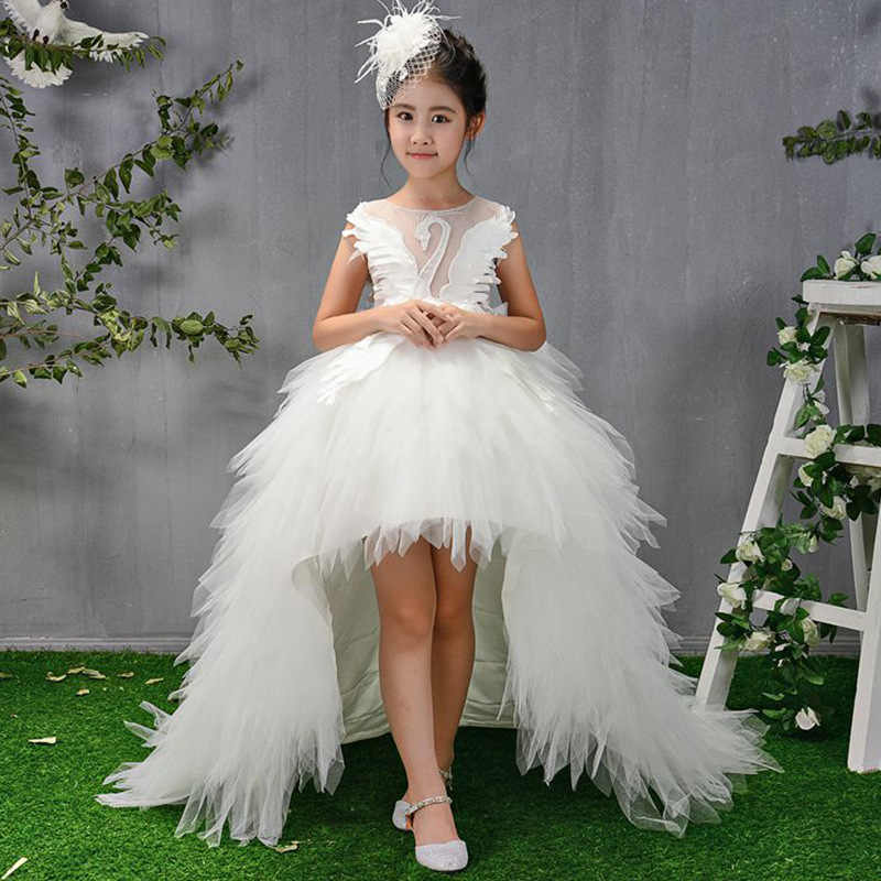 2019 Children Girls Long Trailing Flower Ball Gowns Dresses Kids Pageant Birthday Swan Feather Princess Party Wedding Dress E109