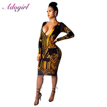 Adogirl Women Gold Print Party Dress Sexy Open Front Deep V Neck Push Up Long Sleeve Mini Dresses Night Club females Vestidos black crossed front design deep v neck mini dresses