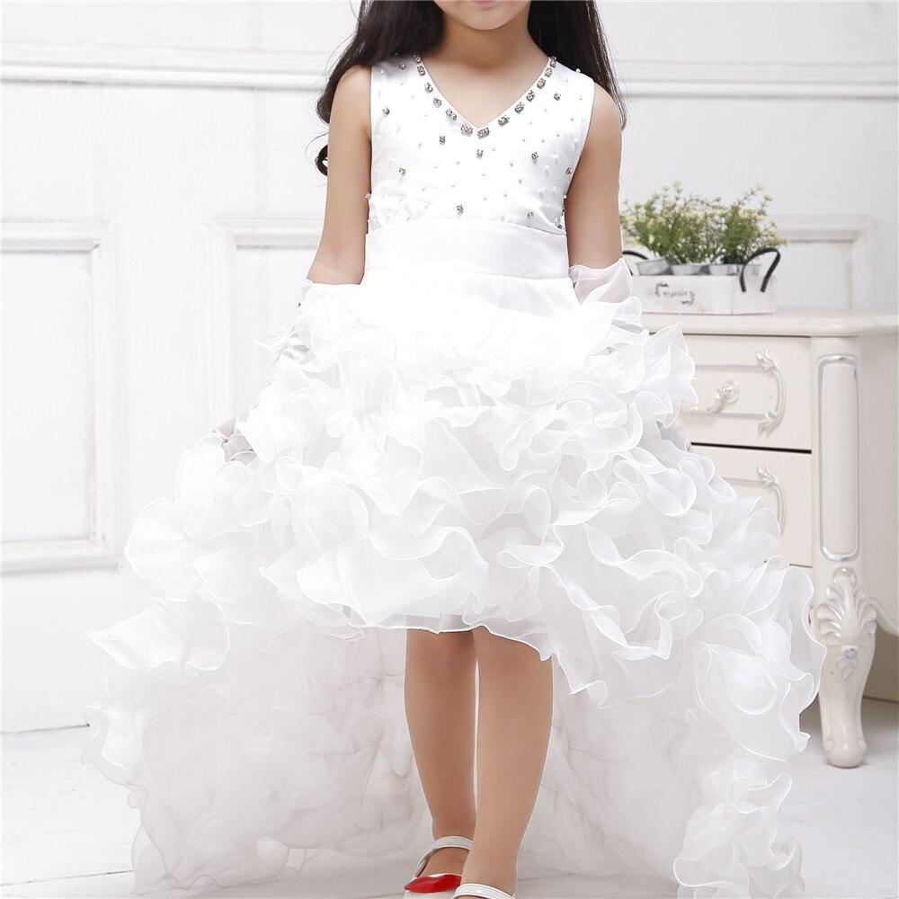 Azel 2019 marque Train formelle fille robes enfants blanc princesse Vestidos enfants vêtements de 4 5 6 7 8 9 10 11 12 ans SKF154024