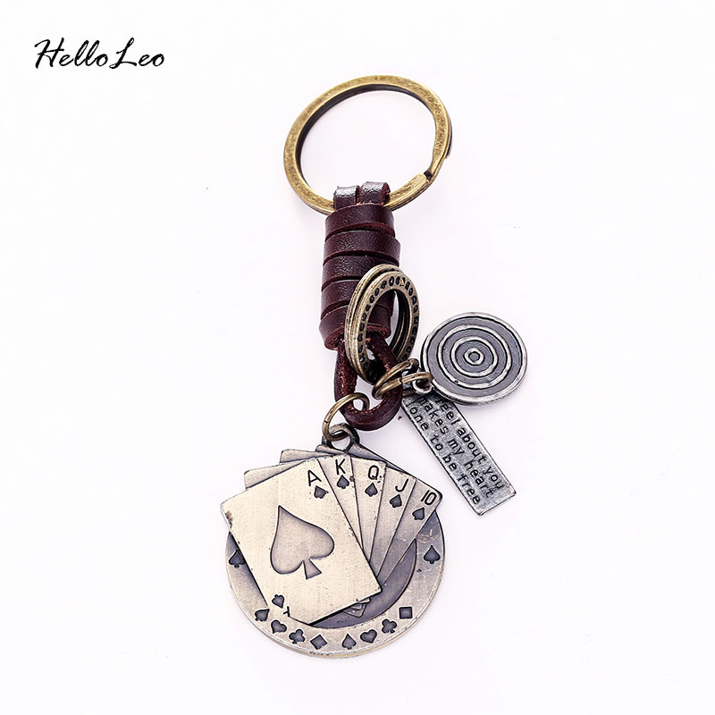 Poker Keychain Leather Vintage Punk Key Chains For Unisex Leather Keychain Bag Pendant Key Rings Keyrings
