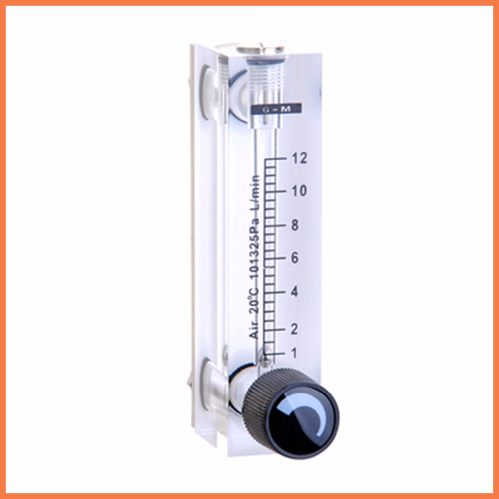 LZT-6T 1-12 LPM Square Panel Type Gas Flowmeter Air Flow Meter rotameter LZT6T Tools Flow Measuring lzt 15m 0 5 4 lpm square panel regulator water meter flow meter rotameter lzt15m tools flow measuring with regulating valve