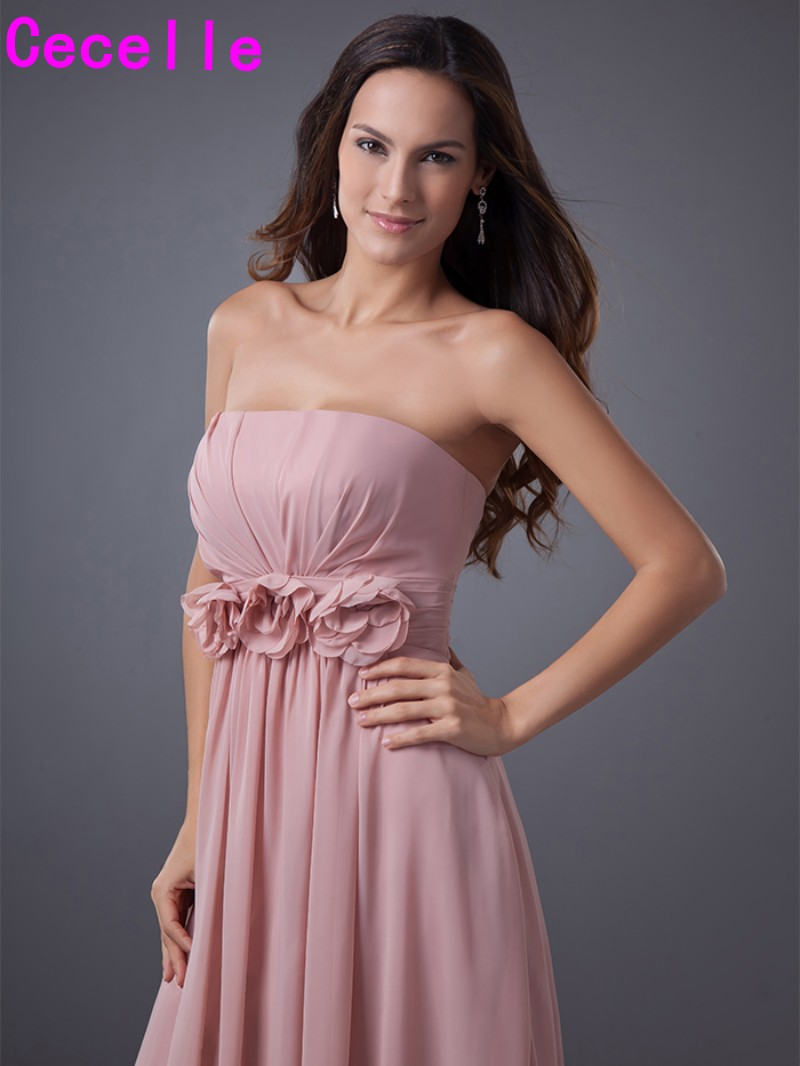 Dusty pink long beach bridesmaid dresses 2017 strapless flowets dusty pink long beach bridesmaid dresses 2017 strapless flowets pleats a line elegant women formal wedding party dresses custom in bridesmaid dresses from ombrellifo Choice Image