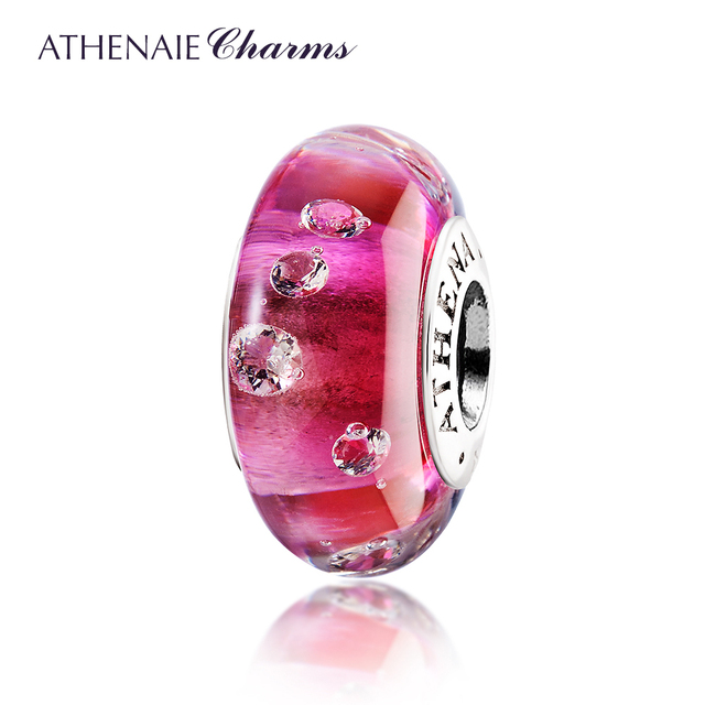 ATHENAIE Genuine Murano Glass 925 Silver Core Effervescence Clear CZ Charms Bead Fit All European Bracelets Color Rose Red