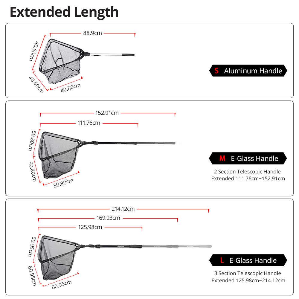 KastKing 90cm 160cm 210cm red de pesca plegable retráctil telescópica de aleación de aluminio para pesca gran red de aterrizaje plegable