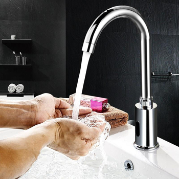 Bathroom Automatic Sensor Water Tap Copper Basin Sink Faucet Single Cold 360 Degree Swivel Touchless Infrared Basin Water Tap