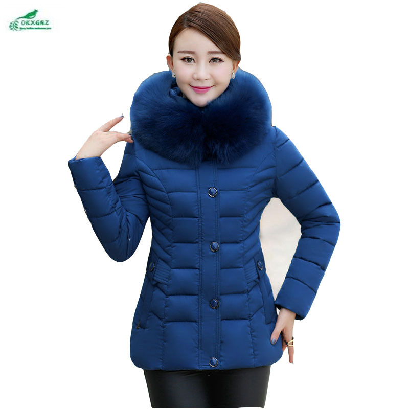 Winter clothing Plus size elderly feather cotton Outerwear thickening short paragraph cotton clothing female casual coat