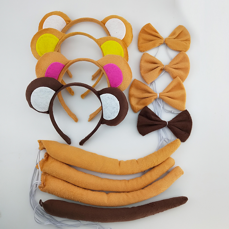 Cute Animal Tail Ear Headband Bow Tie 3Pc Party Monkey Fancy Dress Costume For Christmas Halloween Carnivals For Boy Kids Man