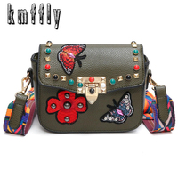 KMFFLY Women Bags Embroidery Butterfly Designer Lock Shoulder Handbags Spring Summer Women Leather Handbags Luxury Handbags