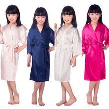 Детское однотонное Шелковистое банное платье для девочек, кимоно халат, одежда для сна