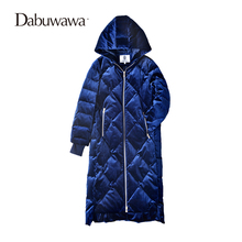 Dabuwawa Dark Blue Winter Women Long Down Coat Hooded Parka 2017 Winter Warm Jacket Down Duck Female