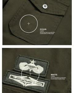 Image 4 - top quality fashion men long sleeve cotton shirts military fitness cargo outwear dress shirts M 6XL AYG75