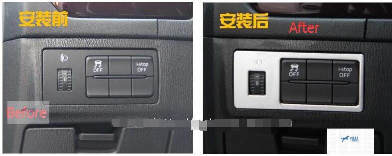 For Mazda 3 AXELA Hatchback Sedan 2014 2015 2016 ABS Head Light Lamp Switch Button Cover Trim 1 Pcs / 2 Model For Choice 3pcs abs chrome rear bumper molding cover trim for mazda 3 mazda3 axela 2014 2015