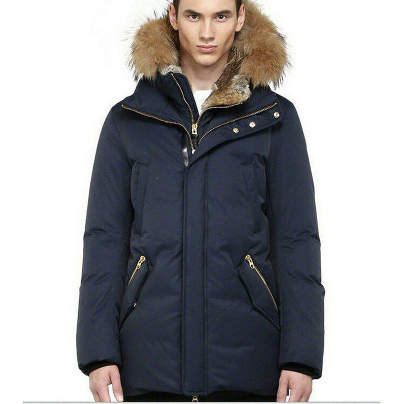 Real fur hood White duck down Winter jacket men Navy blue Parka ...
