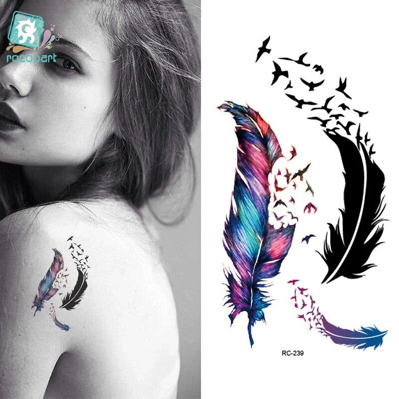 Rocooart RC2239 Body Art Water Transfer Fake Tattoo Sticker Temporary Tattoo Sticker Blue Black Wind Blown Feathers Taty Tatoo