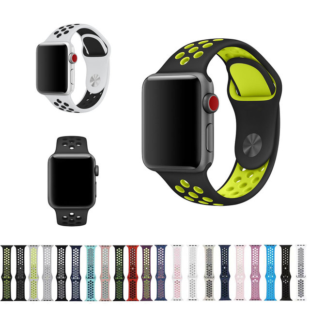ad542bf5543 20 Colors Sport Band for Apple Watch Band 44mm 40mm 38mm 42mm Replacement  Watch Strap for