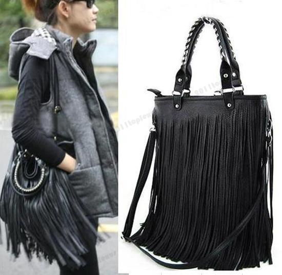 Black Ladies Girls Christmas Gift Punk Double Side Tassel Fringe PU Handbag  Shoulder Bag Purse cbc000ec14f6c