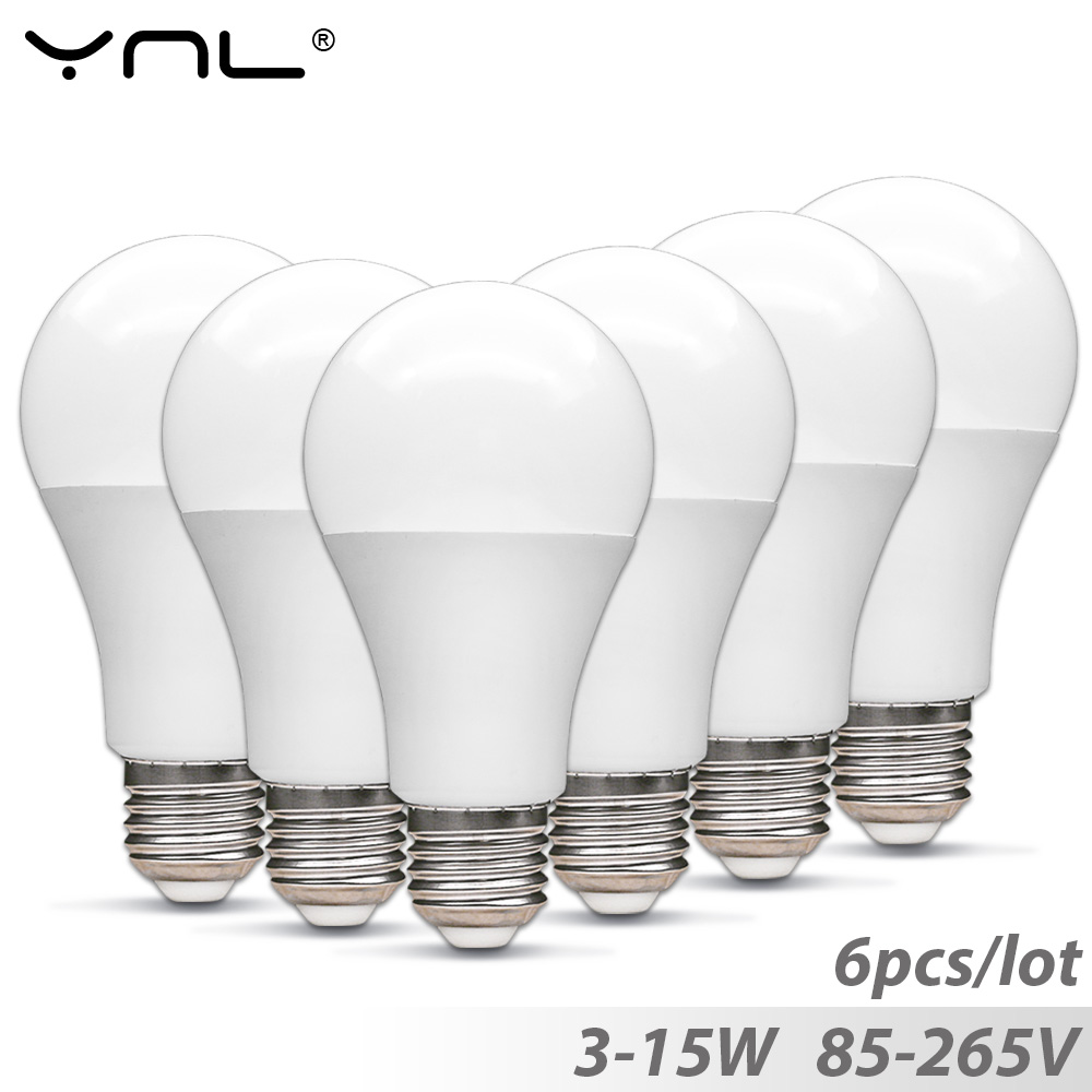 6pcs Lampada E27 Led Bulb 3W 5W 7W 9W 12W 85-265V Top Quality Ampoule Led lamp E27 220V 110V Bombillas led light bulb Spotlight led smart bulb e27 5w 7w 9w led emergency light 85 265v rechargeable battery lighting lamp for outdoor lighting bombillas