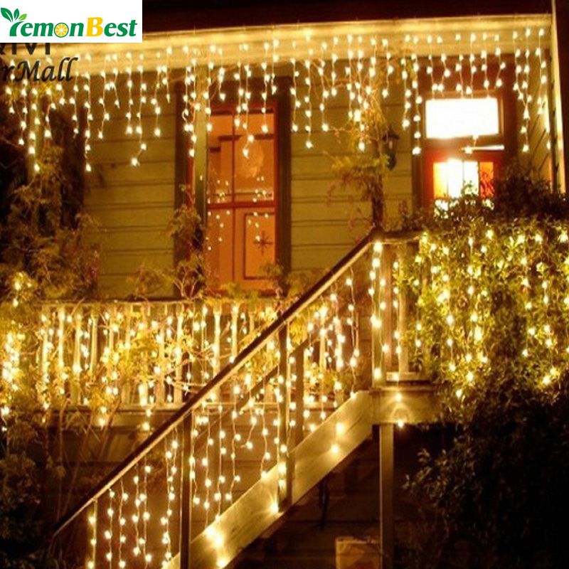Christmas Lights Outdoor Decoration 3.5m Droop 0.3-0.5m Led Curtain Icicle  String Lights