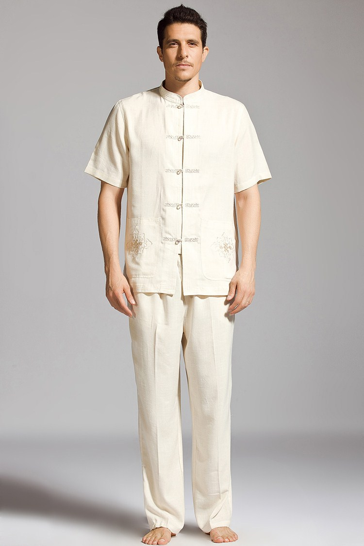 ᓂAlta calidad beige chino hombres Kung Fu traje algodón Wu Shu ...