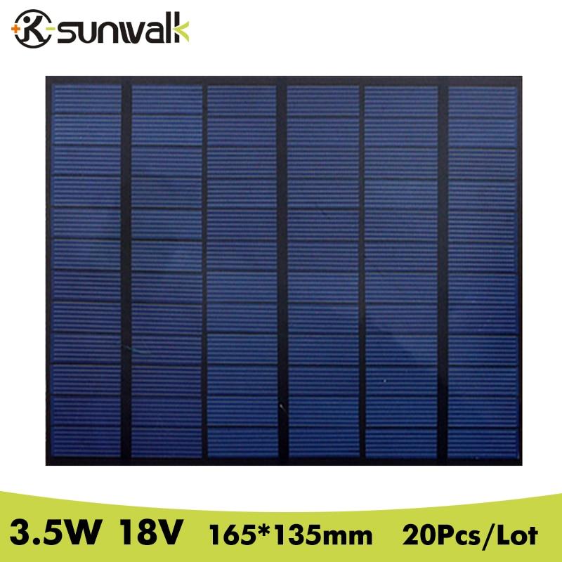 SUNWALK 20pcs 3.5W 18V Polycrystalline Solar Panel Module PET Mini DIY Solar Panel Battery Cell for Solar System Size 165*135mm
