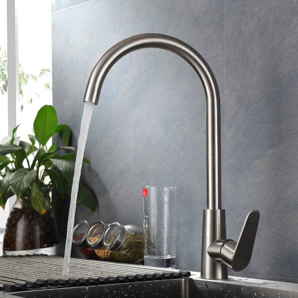 Sus304 Stainless Steel Kitchen Faucets Brushed Mixer Water: SUS 304 Stainless Steel Kitchen Rotating Faucets Brushed