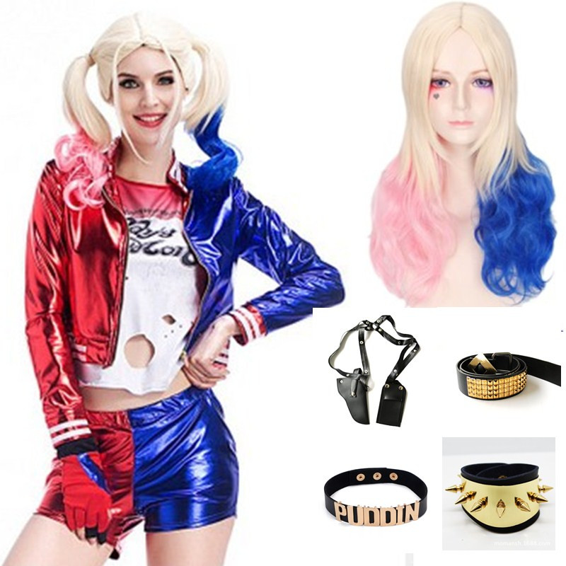 Wigs+necklace+bracelet+belt+Holster Movie Suicide Squad Cosplays Accessories Harley Quinn Sets Masked Party Halloween Costumes