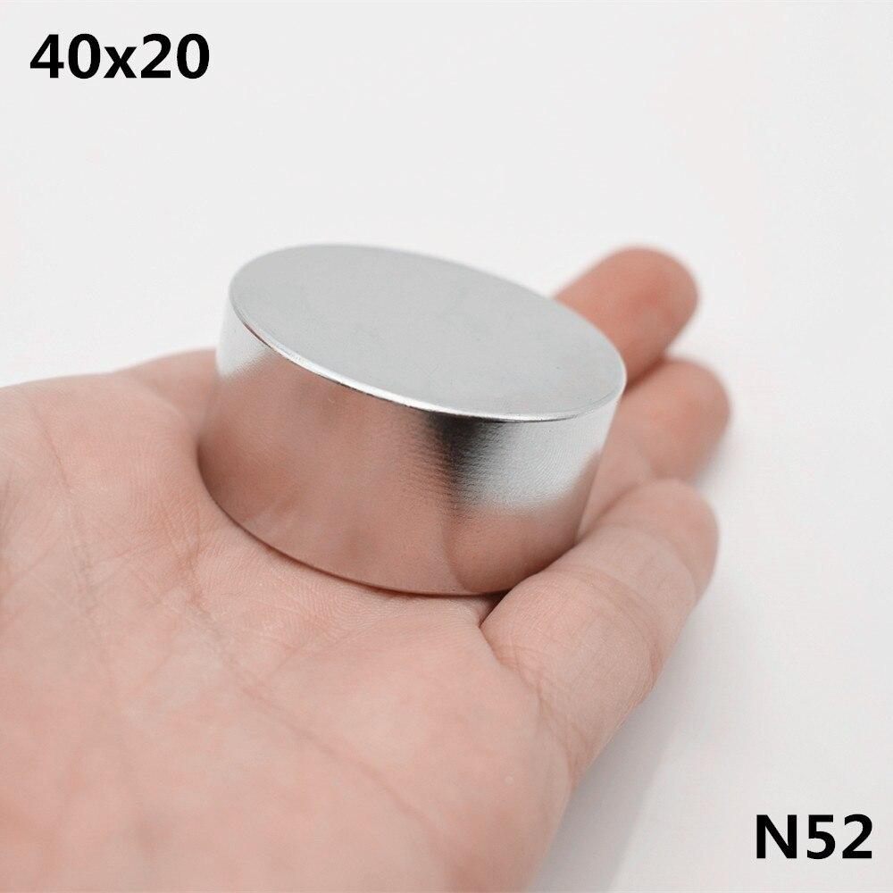 1 pcs N52 Néodyme aimant 40x20mm super strong ronde Rare earth NdFeB puissant haut-parleur magnétique 40 * 20mm disque gallium métal