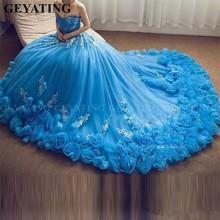 2020 כחול כדור שמלת Quinceanera שמלות 3D פרחוני פרחים כבוי כתף מתוקה 16 שמלה בתוספת גודל נסיכת טול 15 יום הולדת שמלות