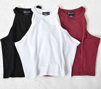 2015 New Women Summer Novelty Tight Cotton Elastic Crop Tops Cute Sleeveless T Shirts Lady Sexy