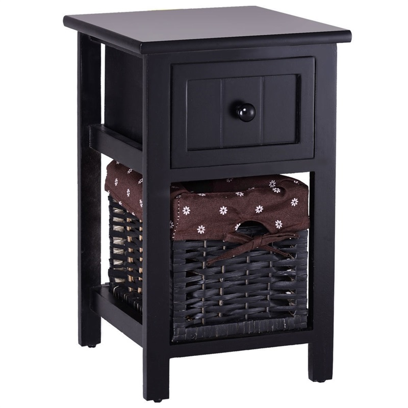 Mini 2 Tier 1 Drawer Wood Nightstand with Basket quality MDF and Solid Paulownia Wood Nightstand with Withdrawable Storage BoxMini 2 Tier 1 Drawer Wood Nightstand with Basket quality MDF and Solid Paulownia Wood Nightstand with Withdrawable Storage Box