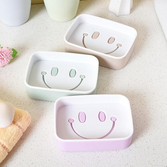 Creatieve Plastic Dubbellaags Zeepkist Glimlach Gezicht zeep holder ...