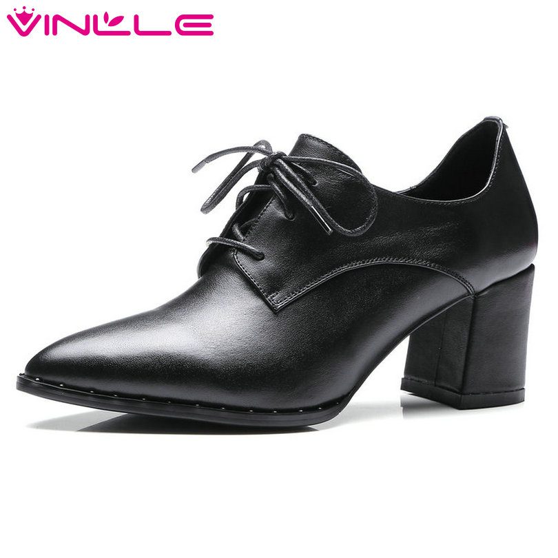 VINLLE 2018 Women Pumps Fashion Square High Heel Pointed Toe Genuine Leather Lace Up Black Ladies Wedding Shoes Size 34-39 2015 fashion women pumps high heel pointed toe shoes soft leather elegant ladies wedding shoes red black size 34 40