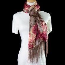 Шелковый шарф женский шарф цветок длинный шелковый платок двухслойная шелковая накидка цветочный женский платок горячий роскошный подарок для леди