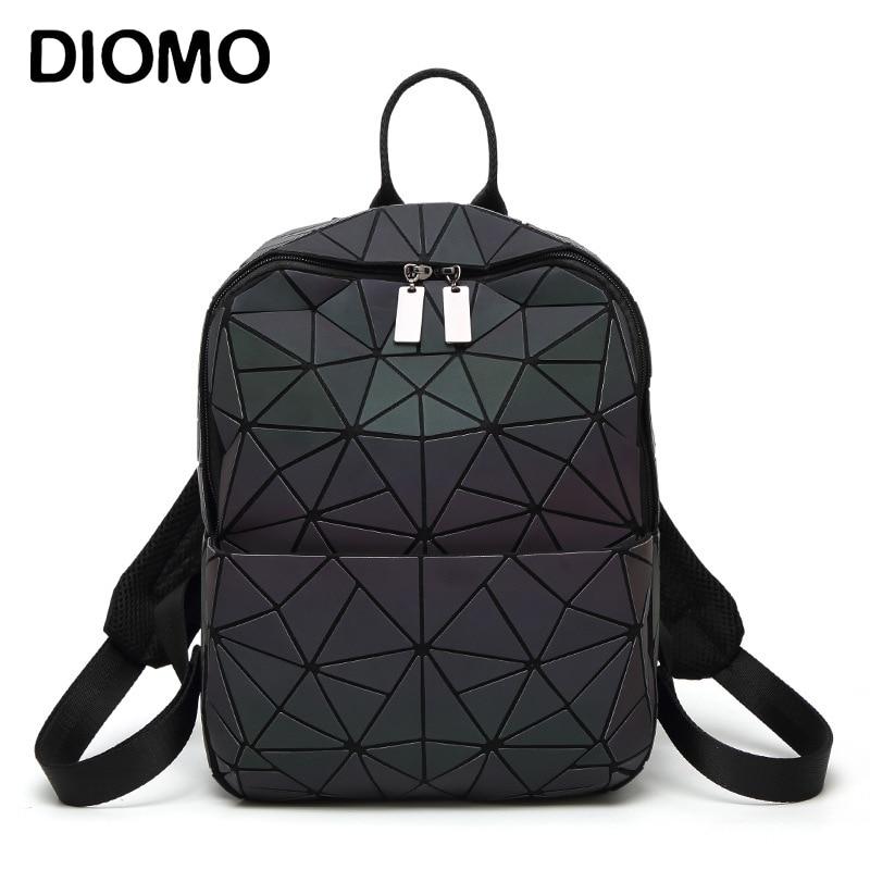 DIOMO Women Backpack Geometric Triangle Small Luminous for Girls Rugzak Shining