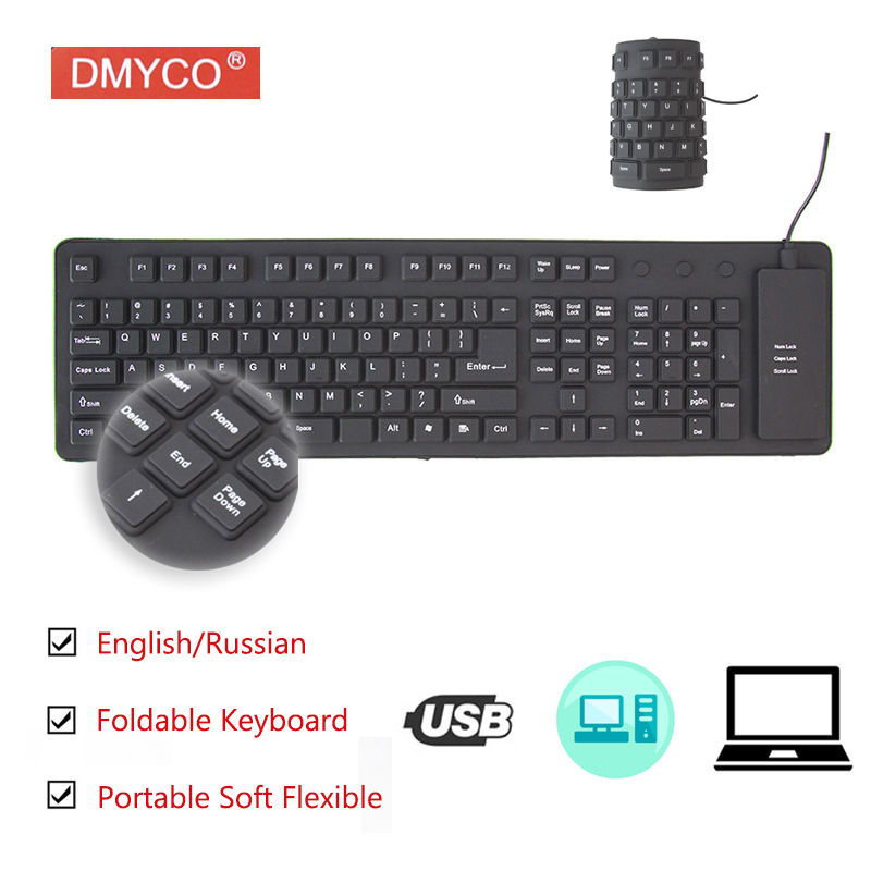 Slim Portable Folding USB Keyboard Wired Foldable Russia Version Office Use Mini Keyboard For Tablet Laptop PC PC Android TV Box
